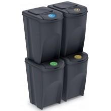 Prosperplast SORTIBOX Sada 4 odpadkových košů, 4x35l, antracit IKWB35S4