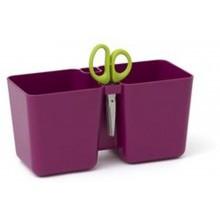 PROSPERPLAST TWINS CUBE dvojkvětináč na bylinky s nůžkami 24,4x11x12cm, 2,5l, fialový DTC245