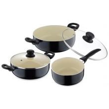 RENBERG Sada nádobí s keramickým povrchem 5 ks, černá RB-1195cern