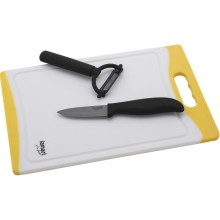 LAMART NOIR Sada LT2017 3ks - keramický nůž 7,5 cm, škrabka a prkénko žluté, 42000486