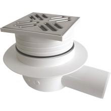 SAPHO Podlahová vpusť 105x105 boční, odpad 50mm, nerez SI50C00