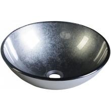 SAPHO SKIN skleněné umyvadlo průměr 42cm, metalická šedá 2501-16