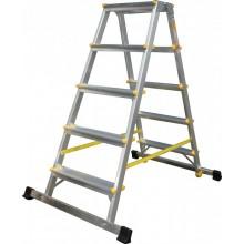 ALVE schůdky oboustranné hliníkové se stabilizátorem, 2x4 příček