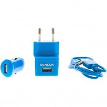 SENCOR KIT SCO 515-000BL USB kabel, nabíječka modrá 1M/WALL/CAR 30014837