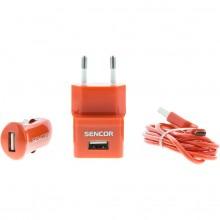 SENCOR KIT SCO 515-000RD USB kabel, nabíječka červená 1M/WALL/CAR 30014838