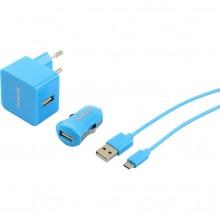 SENCOR KIT SCO 516-000BL USB kabel, nabíječka modrá 1M/WALL/CAR 30015738