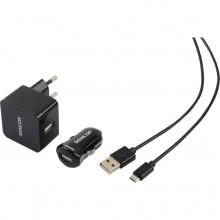 SENCOR KIT SCO 516-000BK USB kabel, nabíječka černá 1M/WALL/CAR 30015737
