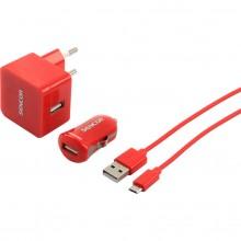 SENCOR KIT SCO 516-000RD USB kabel, nabíječka červená 1M/WALL/CAR 30015739
