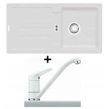 Franke SET G27 granitový dřez STG 614 bílá-led + dřezová baterie FC 9541.094