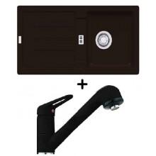 Franke SET G28 granitový dřez STG 614 onyx + dřezová baterie FC 9547.071