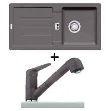 Franke SET G28 granitový dřez STG 614 šedý kámen + dřezová baterie FC 9547.084