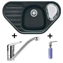 Franke SET G45 granitový dřez COG 651 E grafit + dřezová baterie FC 9541.031 + dávkovač FD 300