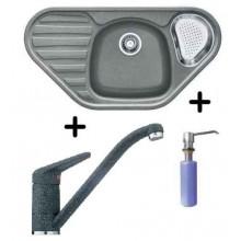 Franke SET G47 granitový dřez COG 651 E šedý kámen + dřezová baterie FC 9541.084 + FD 300