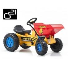 Šlapací traktor G21 Classic s čelním nosičem žluto/modrý 690812