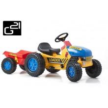 Šlapací traktor G21 Classic s vlečkou žluto/modrý 690814