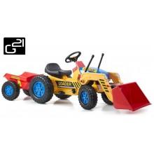 Šlapací traktor G21 Classic s nakladačem a vlečkou žluto/modrý 690815