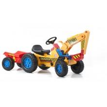 Šlapací traktor G21 Classic s bagrem a vlečkou žluto/modrý 690816