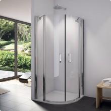 RONAL SLR Swing-Line čtvrtkruh dvoukřídlé dveře, 80cm, R55, chrom/Cristal perly SLR5508005044