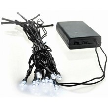 SOLIGHT LED vánoční řetěz, 3m, 20xLED, 3x AA, bílé světlo, zelený kabel 1V50-W VS1V50W