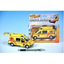 Auto ambulance, kov, 13cm, česky mluvící, na baterie, se světlem 00065710