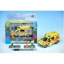 Auto ambulance, kov, 13cm, s postavičkami, na baterie se světlem se zvukem 00065688