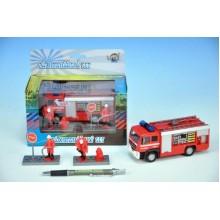 Auto hasiči, kov,13cm, s postavičkami, na baterie, se světlem, se zvukem 00065689