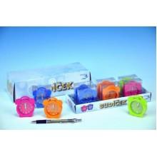 Budík barevný mini, 5,3x6x2cm, na baterie, 4 různé barvy 00028887