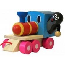 Krtek a mašinka/vlak dřevo 12cm tahací 33012810