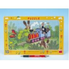 Puzzle deskové Krtek a lokomotiva 29,5x19cm 15 dílků 21001039