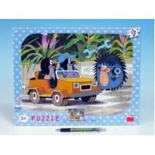 Puzzle deskové tvary Krtek a autíčko 36x28cm 12 dílků 21303034