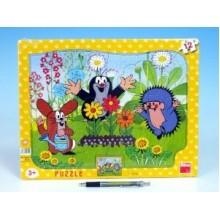 Puzzle deskové tvary Krtek zahradník 36x28cm 12 dílků 21303041