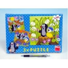 Puzzle Krtek a ptáček 18x18cm 3x55 dílků 21335035