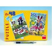 Puzzle Krtek se raduje 18,1x26,4cm 2x48 dílků 21381285