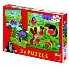 Puzzle Krtek a paraplíčko 18x18cm 3x55 dílků 21335028