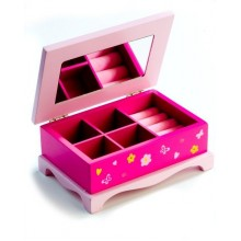 Skříňka šperkovnice Princess, zrcadlo, dřevo 17x7x11,5cm 00100023