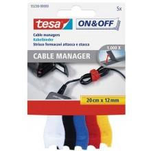 TESA Správce kabelů - malý, 5ks, různé barvy, 12 mm x 200 mm 55236-00000-01