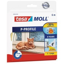 TESA MOLL Gumové těsnění, bílé, na okna a dveře, P profil, 6m 05390-00102-00