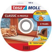 TESA MOLL Gumové těsnění, hnědé, na okna a dveře, D profil, buben 100m 55706-00101-00