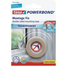TESA Powerbond Montážní oboustranná pěnová páska na sklo, průhledná, 1,5m x 19mm 55743-00003-02