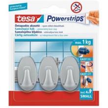 TESA Powerstrips háček oválný malý matný chrom, nosnost 1kg 57519-00101-01
