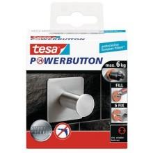 TESAPowerbutton háček CLASSIC, matná nerez ocel, čtvercový, nosnost 6kg