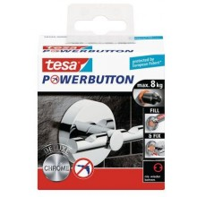 TESA Powerbutton háček DELUXE, lesklý chrom, kruhový, nosnost 8kg 59340-00000-00