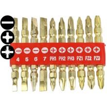 """Bity 1/4"""", PL - PH - PZ, délka 50 mm, oboustranné, sada 10 dílů, 100-00488"""