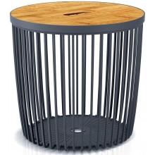 Prosperplast CLUBO Univerzální koš / stolek s bambusovým víkem 38,6cm, antracit ICLU35T