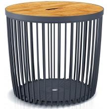Prosperplast CLUBO Univerzální koš / stolek s bambusovým víkem 45cm, antracit ICLU50T