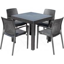 G21 KAILA QUATTRO Zahradní nábytek imitace ratanu, černý 60023124