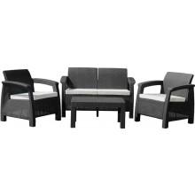 G21 MOANA FAMILY Zahradní nábytek imitace ratanu, černý 60023126