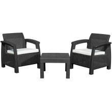 G21 MOANA RELAX Zahradní nábytek imitace ratanu, černý 60023125