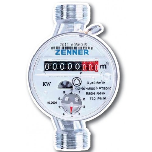 """ZENNER Bytový vodoměr ETWD-M 2,5-110-1/2"""" R80H40V na teplou vodu 999119820"""