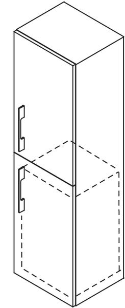 SAPHO MARIOKA 59146L vysoká skříňka s košem 35x140x30cm, levá, černá